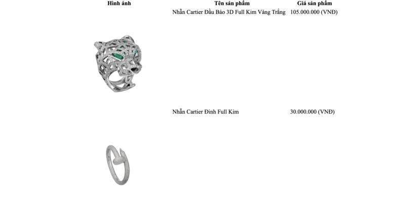 Chi tiết bảng giá trang sức Cartier chính hãng năm 2021
